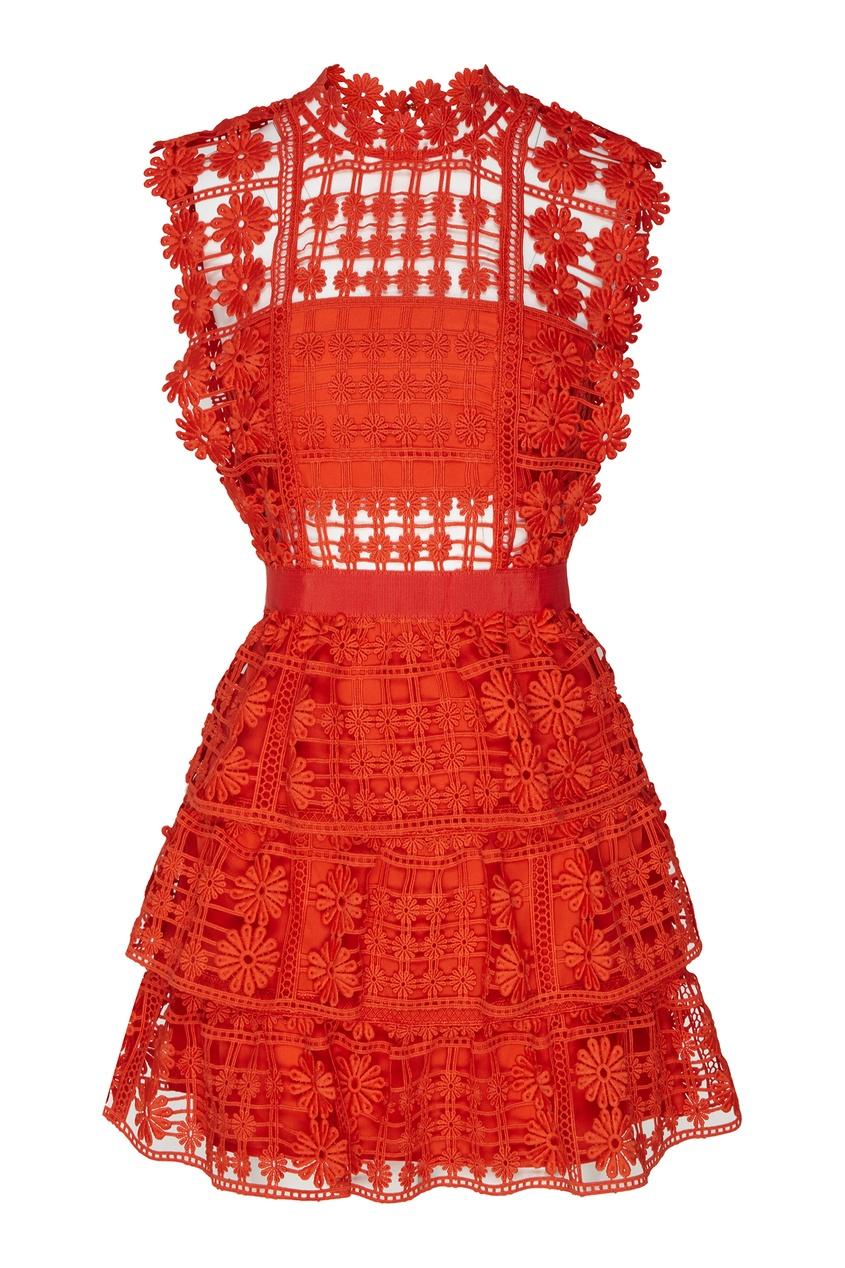 Красное кружевное платье Self-Portrait