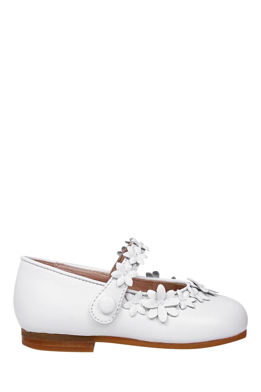 Купить Кожаные белые туфли с аппликацией белого цвета