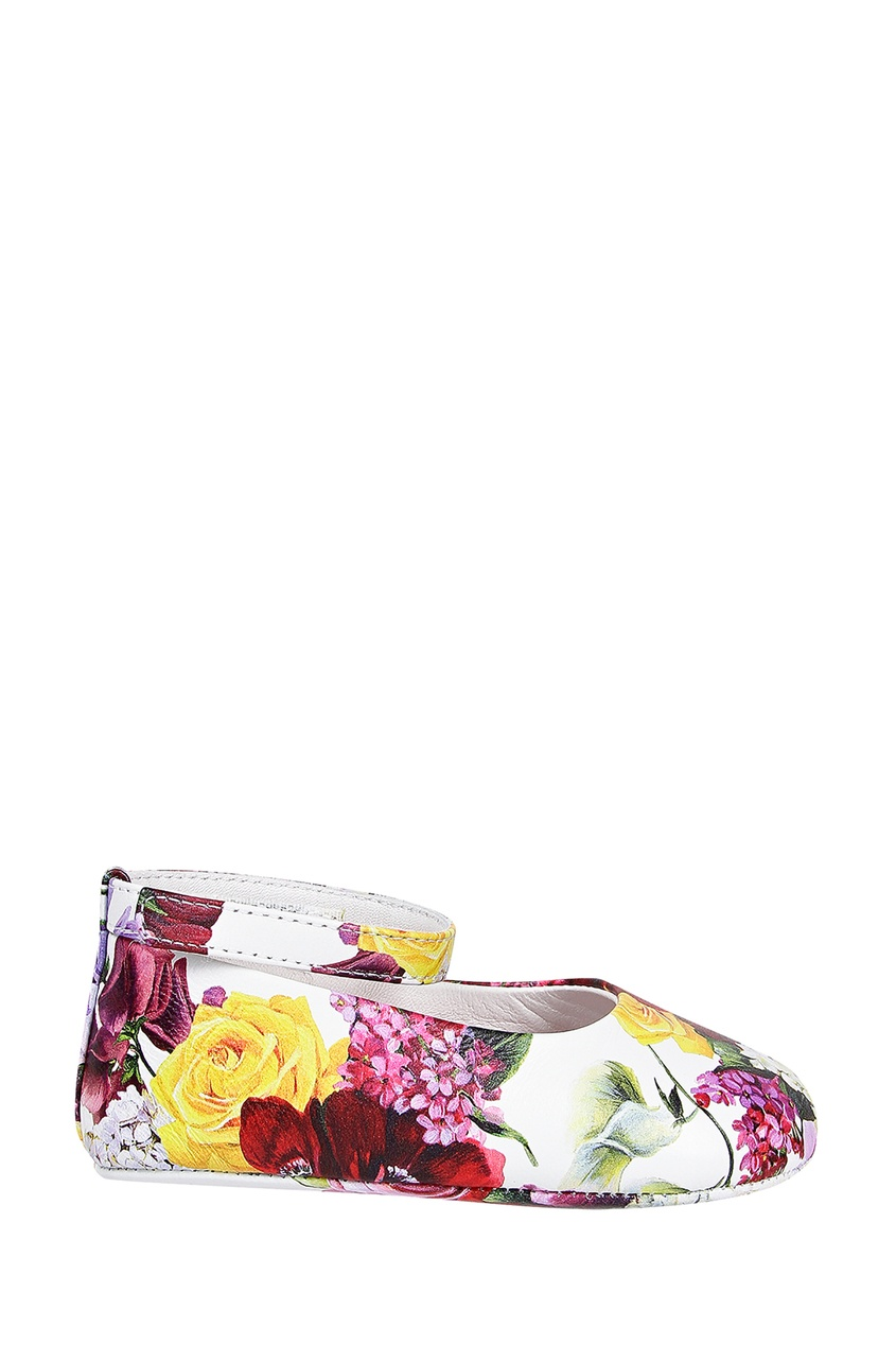 Кожаные пинетки с цветочным принтом