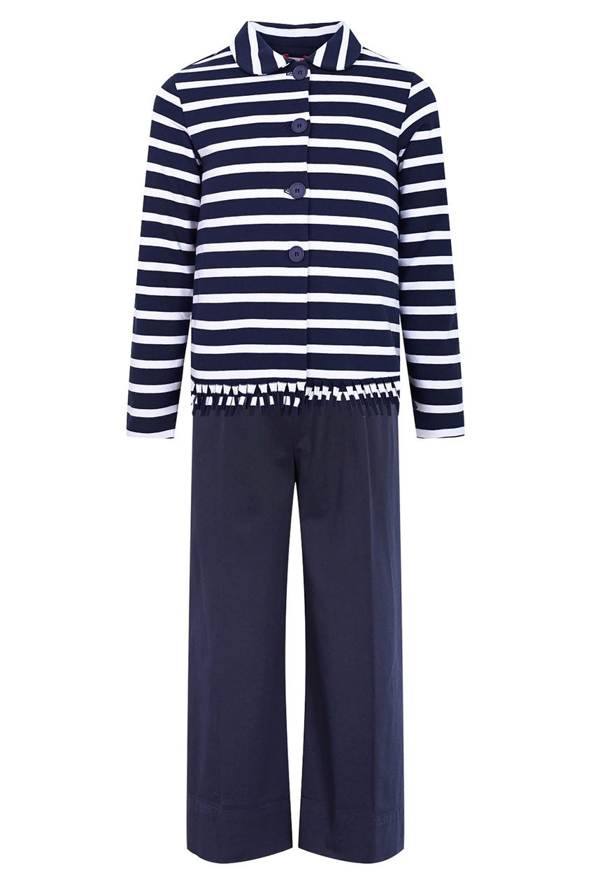 Купить Хлопковый комплект в морском стиле синего цвета