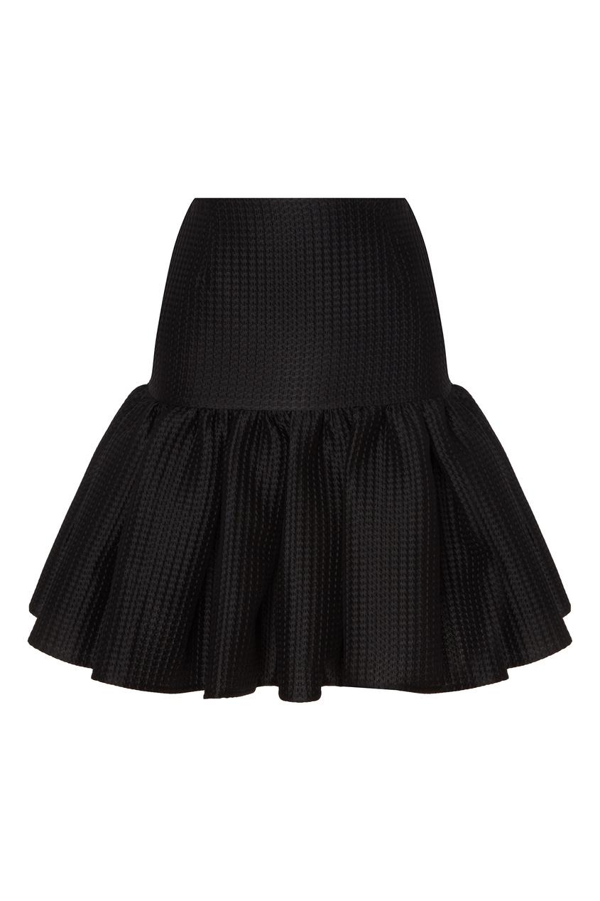 Черная мини-юбка с кокеткой MSGM