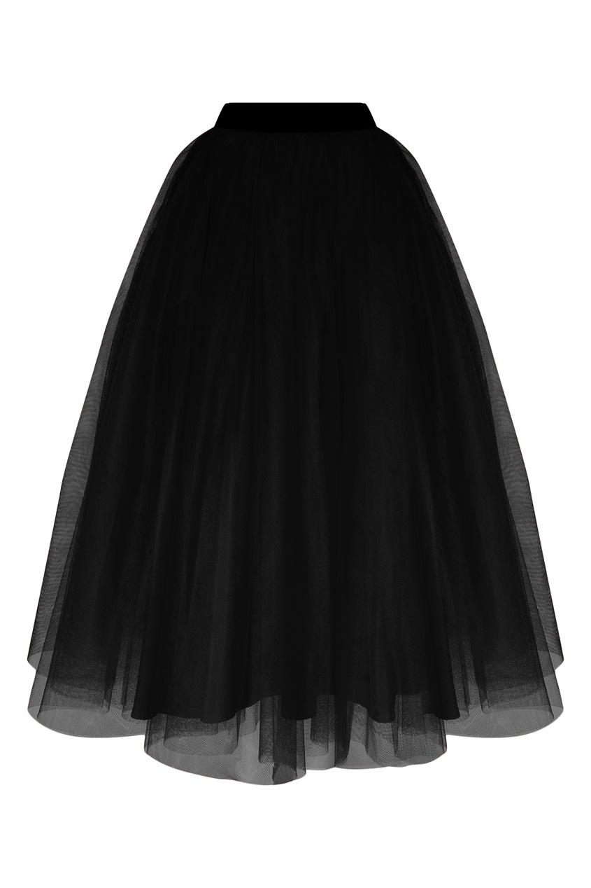 Черная тюлевая юбка MSGM