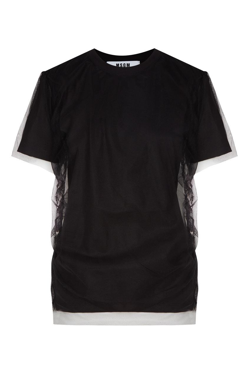 женская футболка msgm, черная