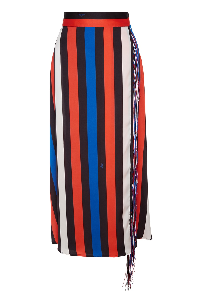 Полосатая юбка с бахромой MSGM