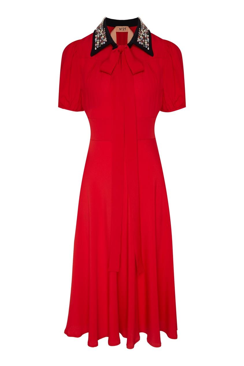 Купить Платье с декором на воротнике от No.21 красного цвета