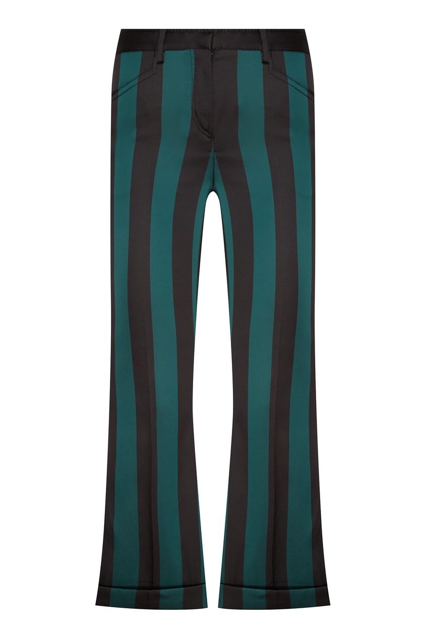 Бирюзовые брюки в черную полоску No.21