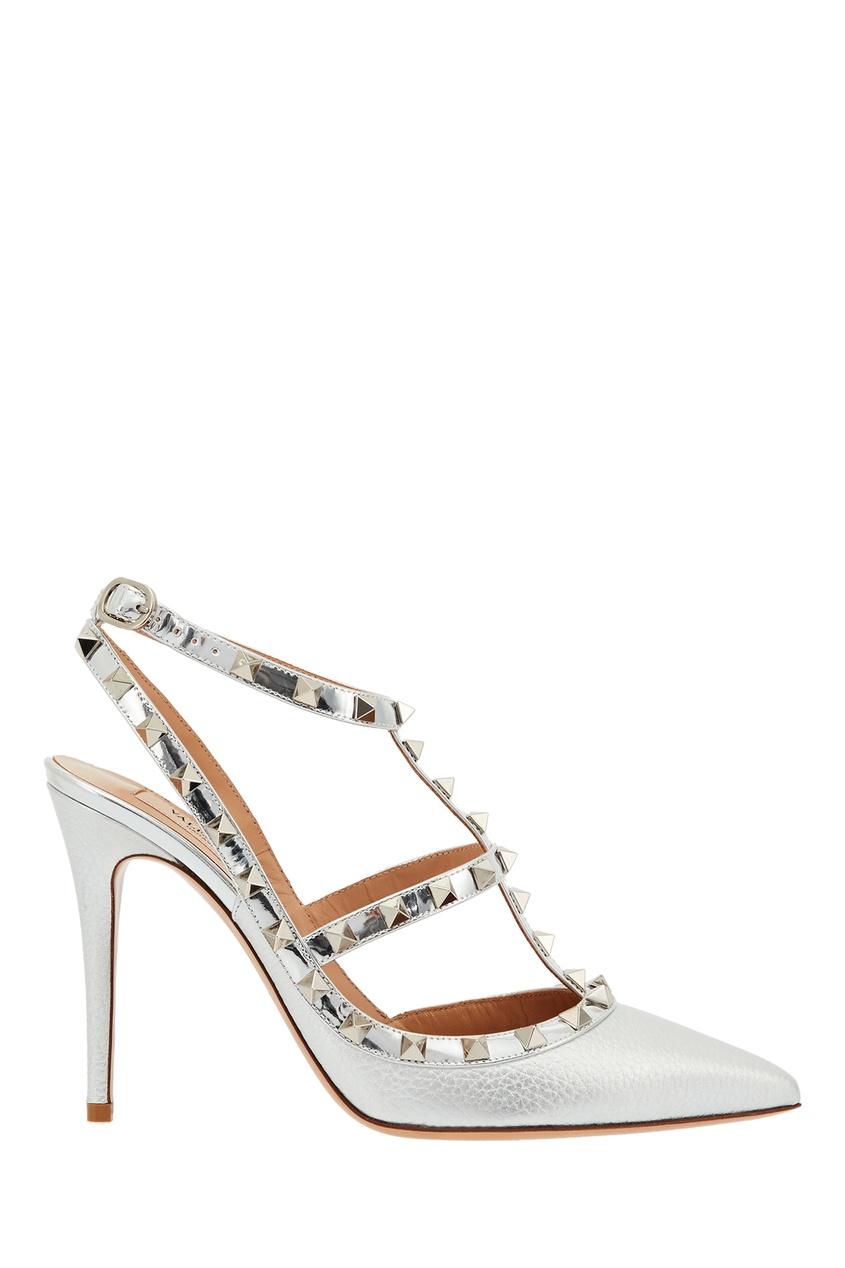 Серебристо-белые туфли Valentino Garavani Rockstud