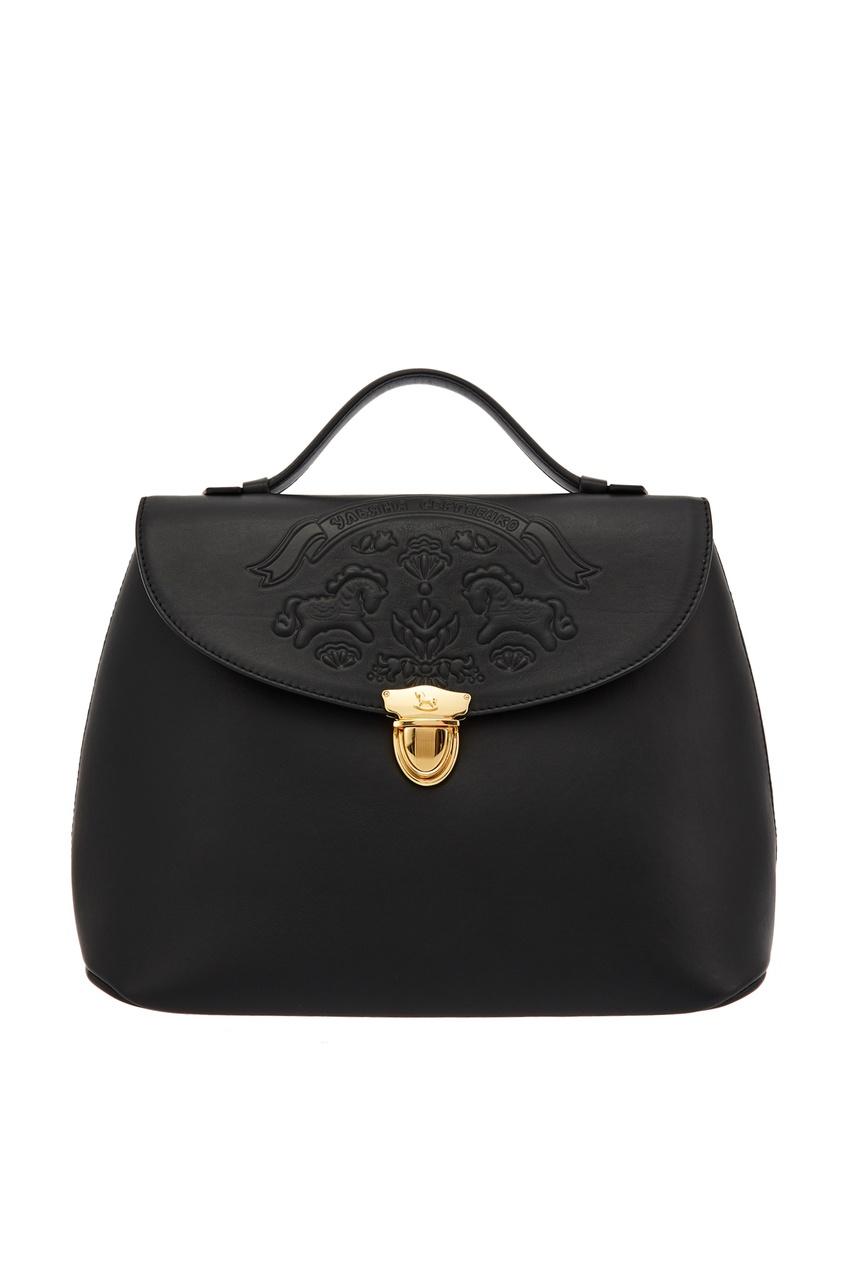 Черная кожаная сумка с тиснением Ulyana Sergeenko