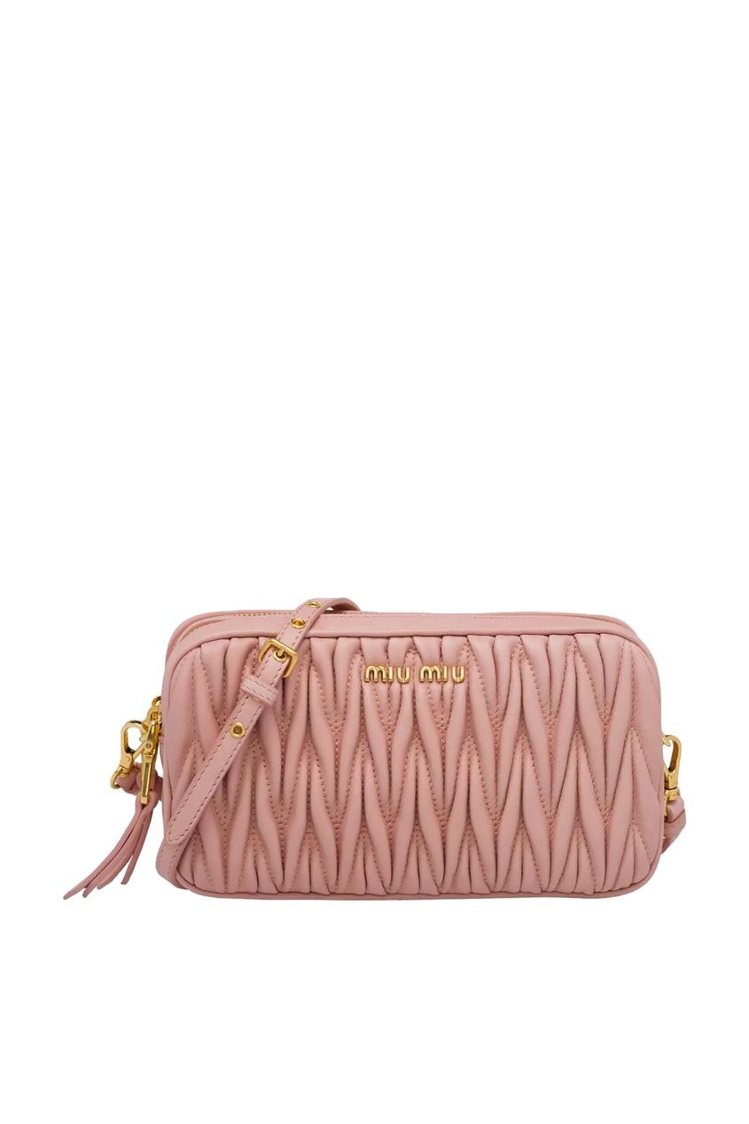 Розовая кожаная сумка со стеганым мотивом Miu Miu