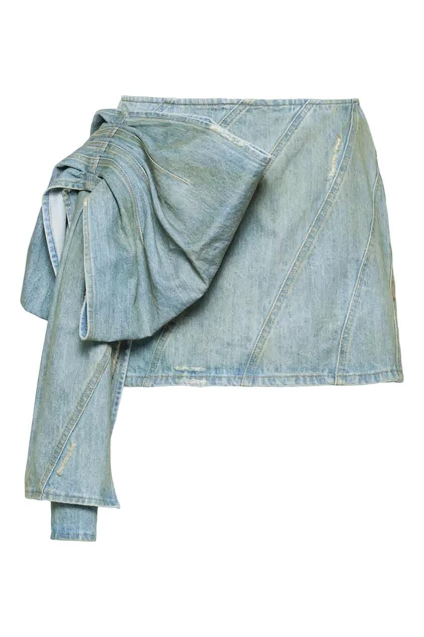 Голубая джинсовая мини-юбка с декором от Miu Miu