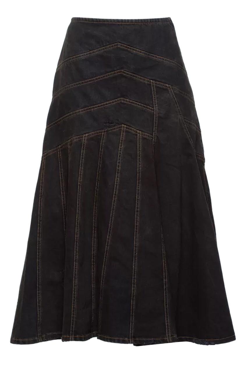 Темно-серая юбка с асимметричной строчкой Miu Miu