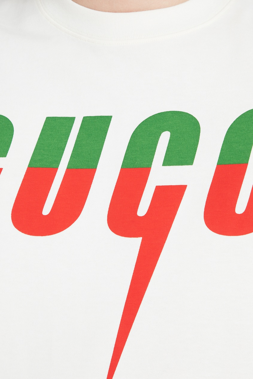 Фото 5 - Футболку с красно-зеленым логотипом от Gucci Man цвет multicolor