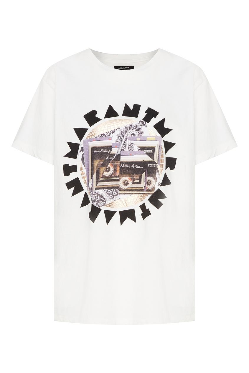 Белая футболка с коллажным принтом Isabel Marant