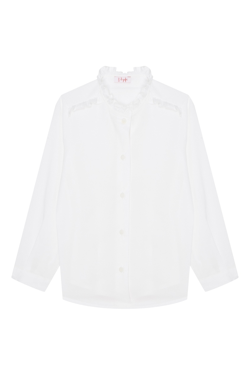 Купить Белая блузка с рюшами белого цвета