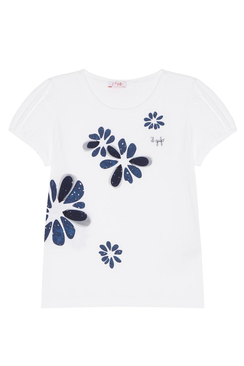 Купить Белая футболка с принтом белого цвета