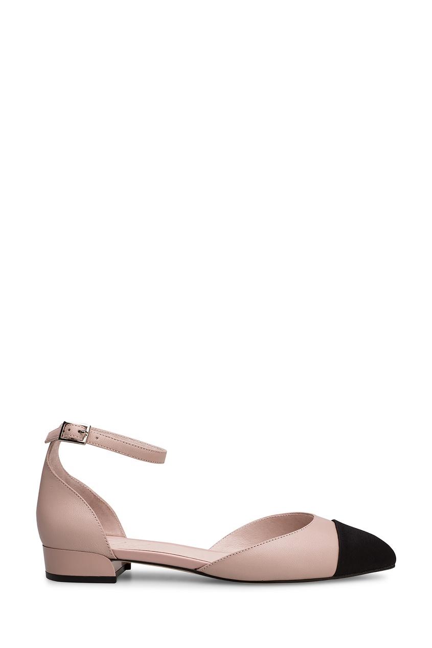 Бежевые туфли с контрастной вставкой Portal