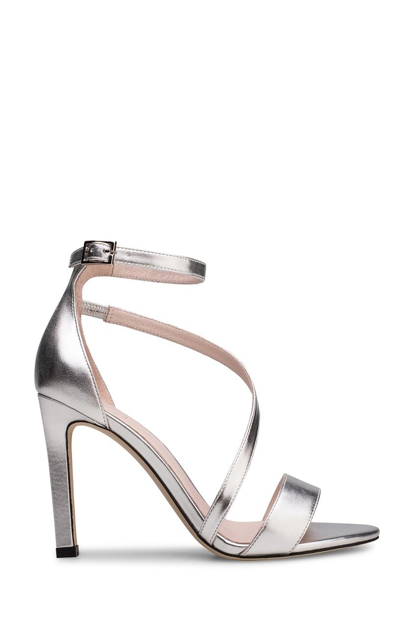 Серебристые туфли с ремешком Portal