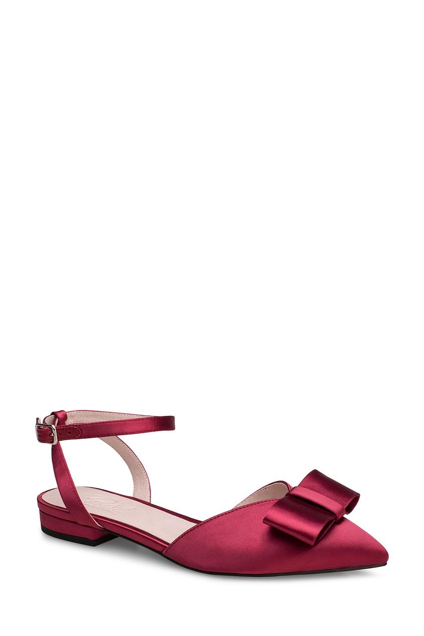Фото 2 - Бордовые туфли с бантом от Portal красного цвета