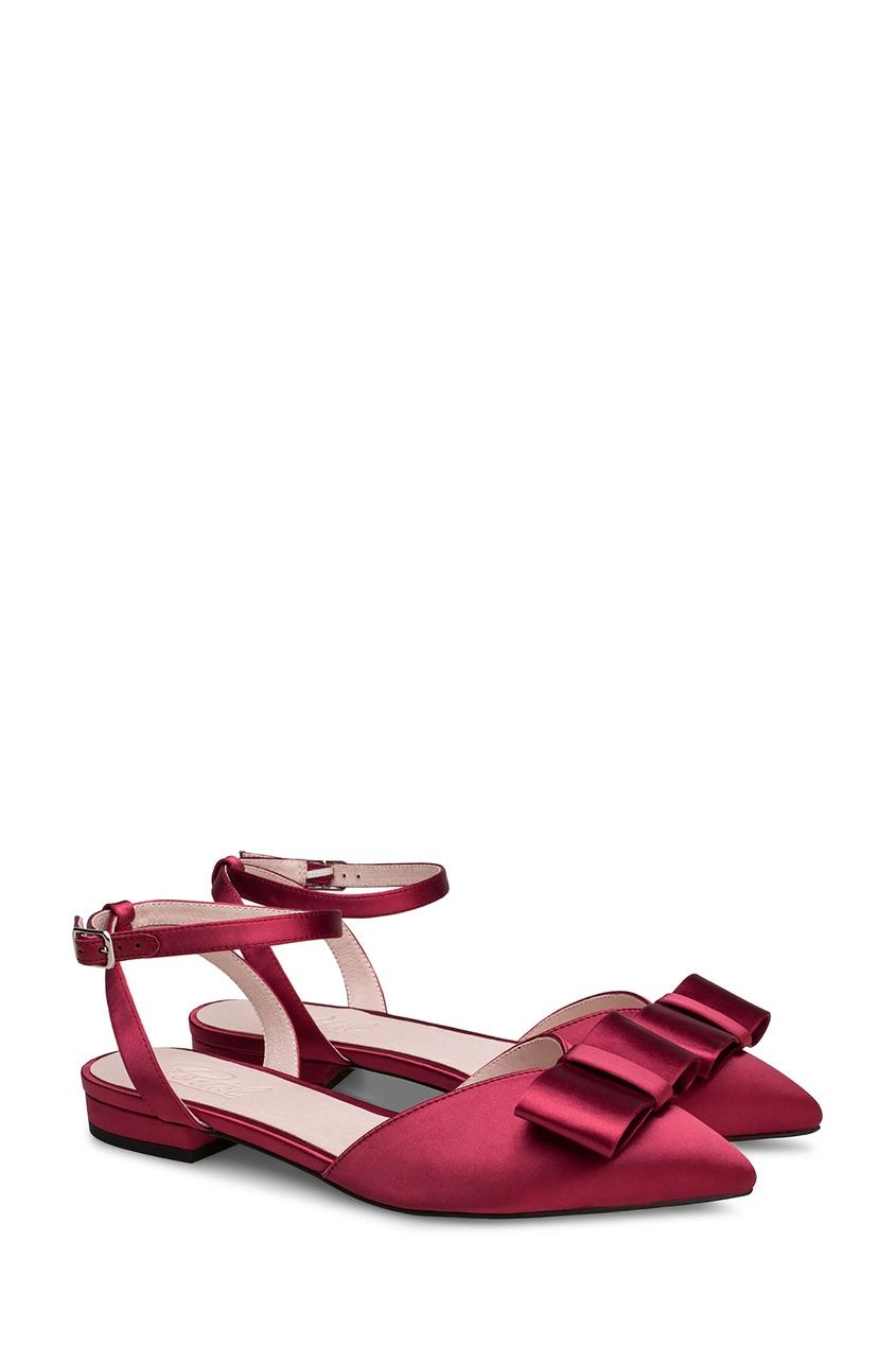Фото 3 - Бордовые туфли с бантом от Portal красного цвета