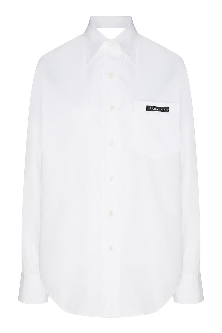 Фото - Рубашку с вырезами на спине и локтях от Prada белого цвета