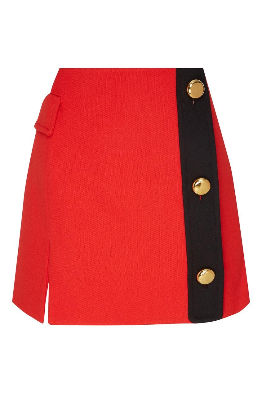 Мини-юбка с контрастной асимметричной застежкой PRADA