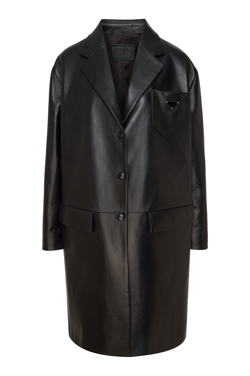 Черное кожаное пальто Prada