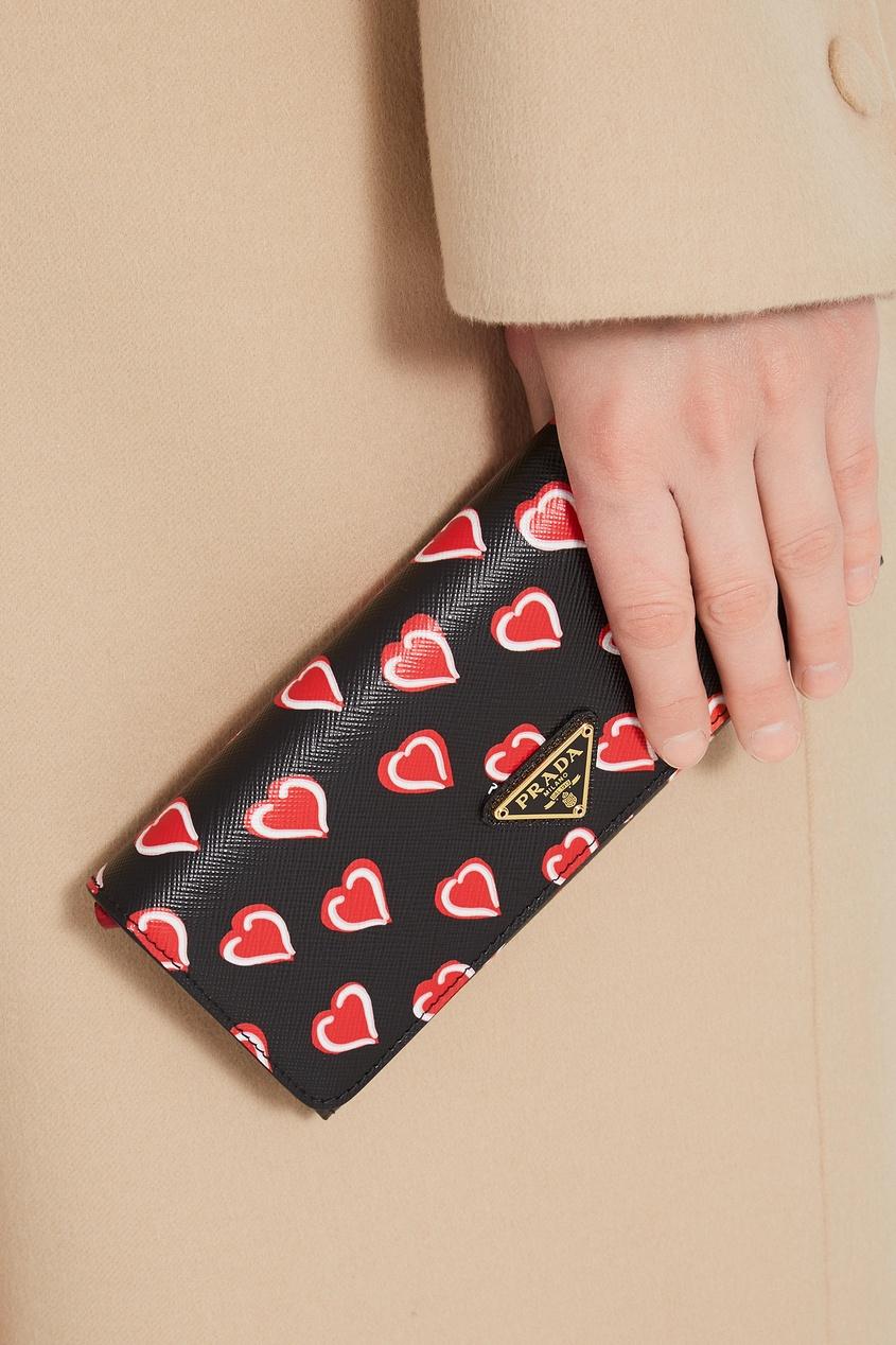 Фото 3 - Бумажник с принтом и логотипом от Prada цвет multicolor