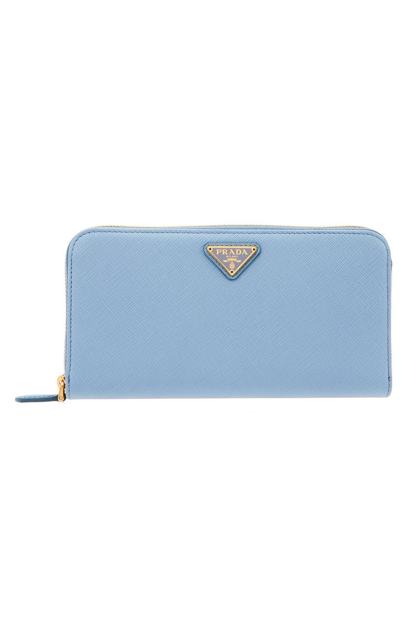 Голубой кожаный кошелек большого размера PRADA