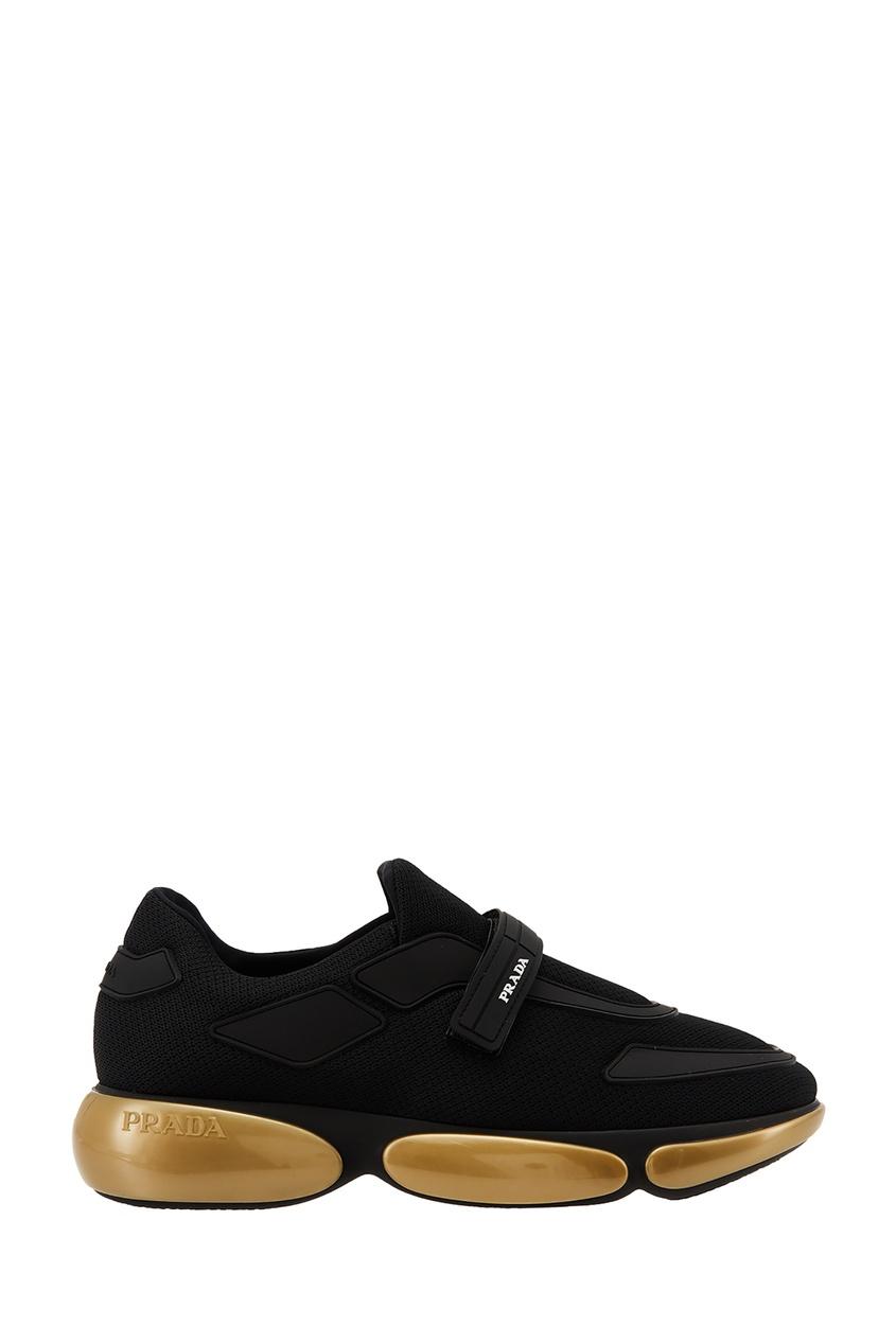 Золотисто-черные кроссовки Cloudbust PRADA