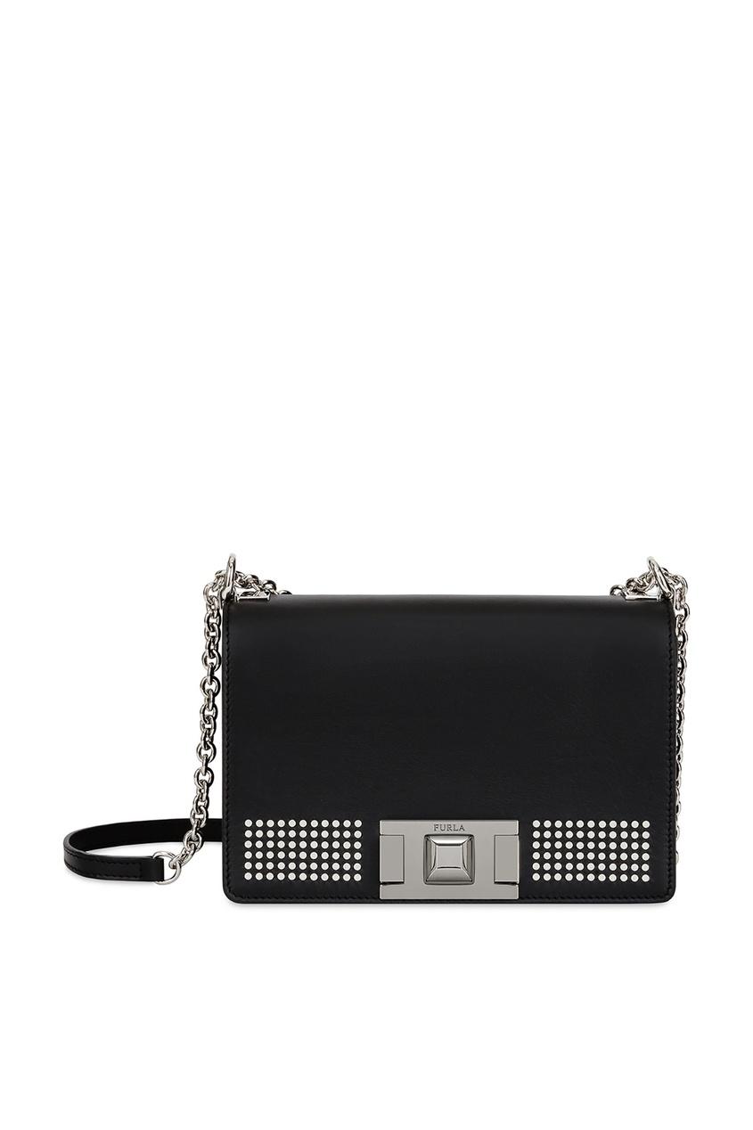 Черная кожаная сумка Mimi с отделкой Furla