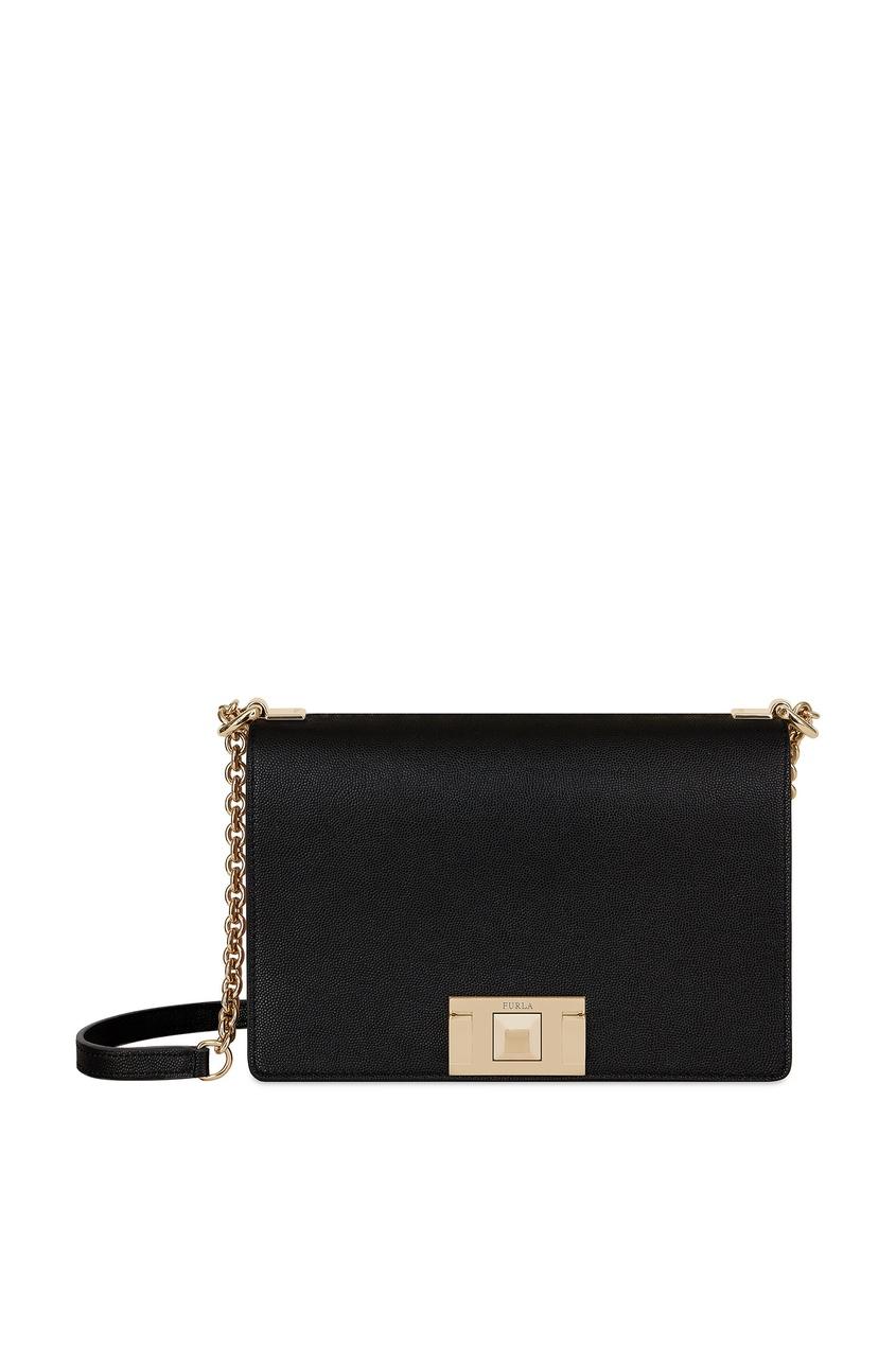 Черная кожаная сумка-кроссбоди Mimi Furla