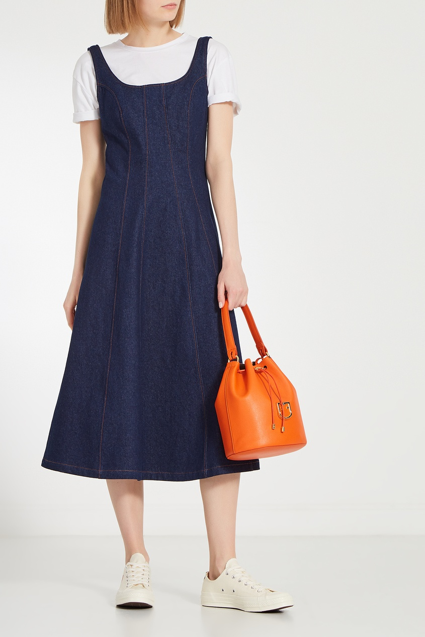 Фото 2 - Оранжевая кожаная сумка Corona оранжевого цвета