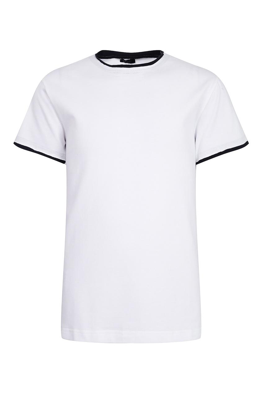 Купить Белая футболка с контрастным принтом белого цвета