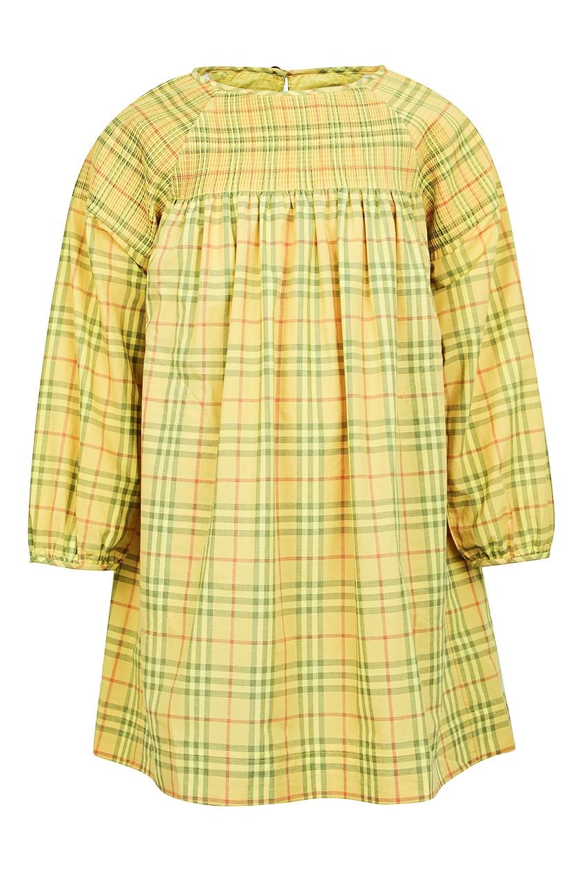 Купить Желтое платье в клетку от Burberry Kids желтого цвета