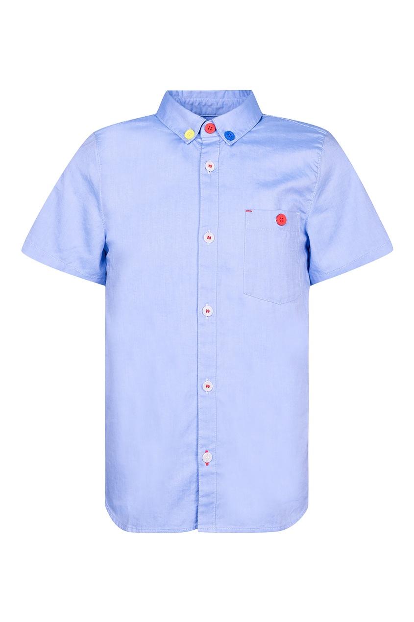 Купить Синяя рубашка с разноцветными пуговицами от Burberry Kids голубого цвета