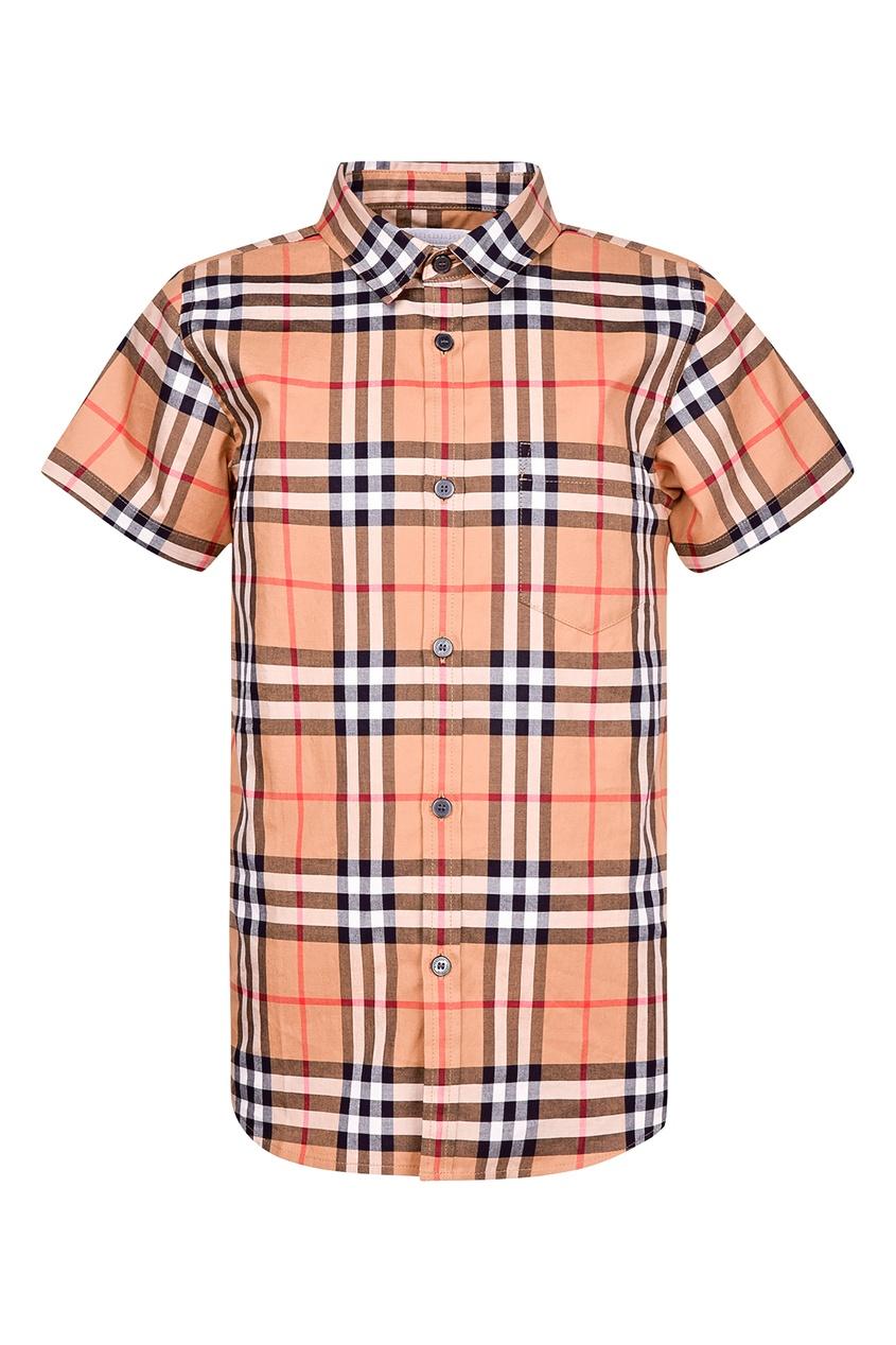 Купить Оранжевая рубашка в клетку от Burberry Kids цвет multicolor
