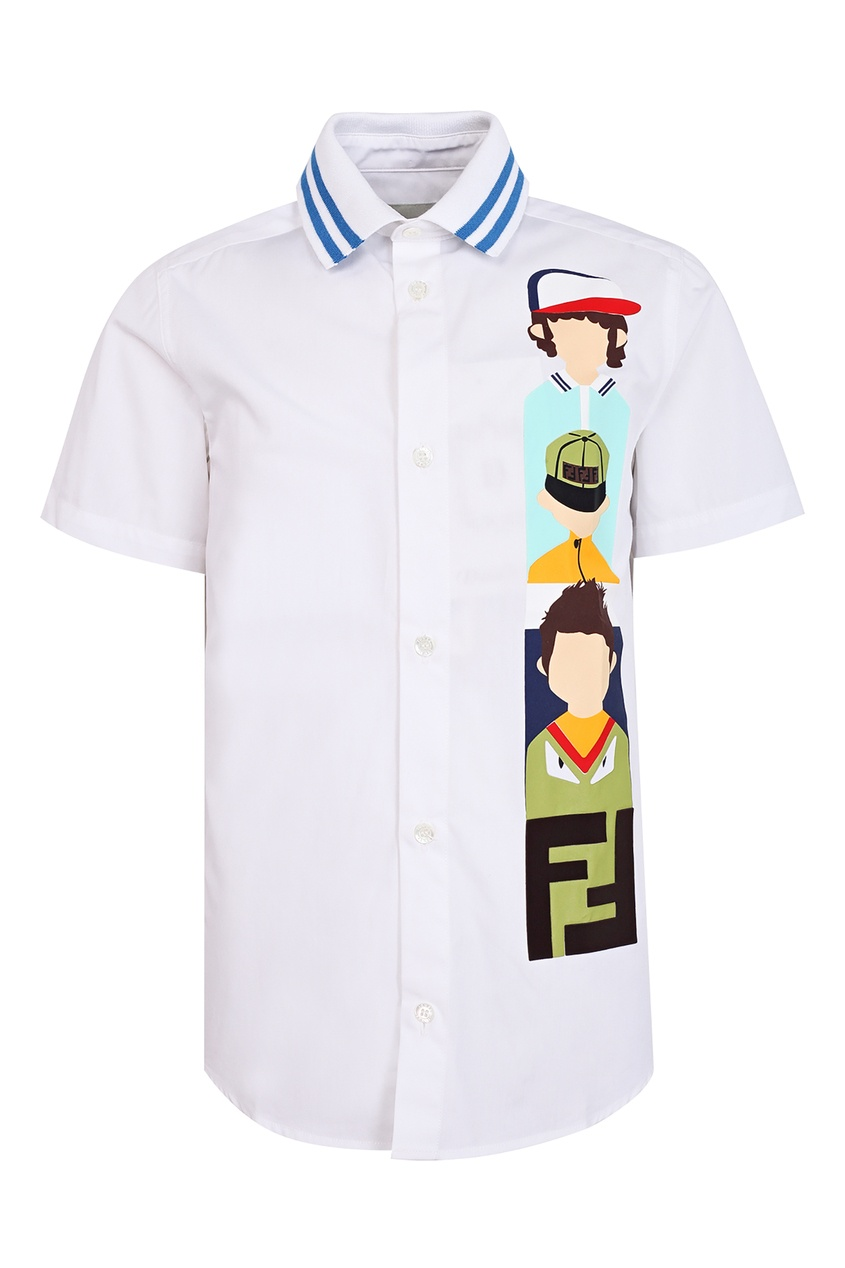 Купить Белая рубашка-поло с принтом от Fendi Kids белого цвета