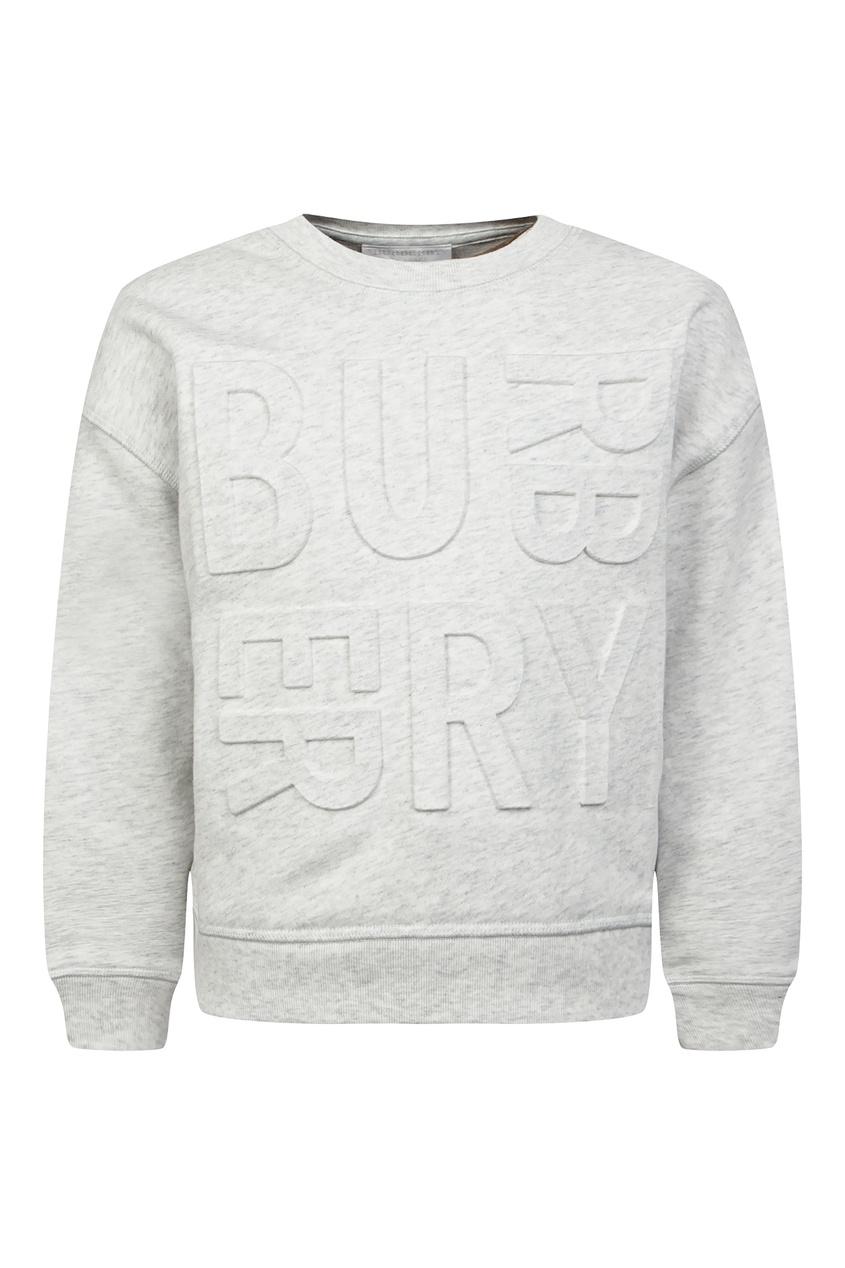 Купить Серый свитшот с надписью от Burberry Kids серого цвета