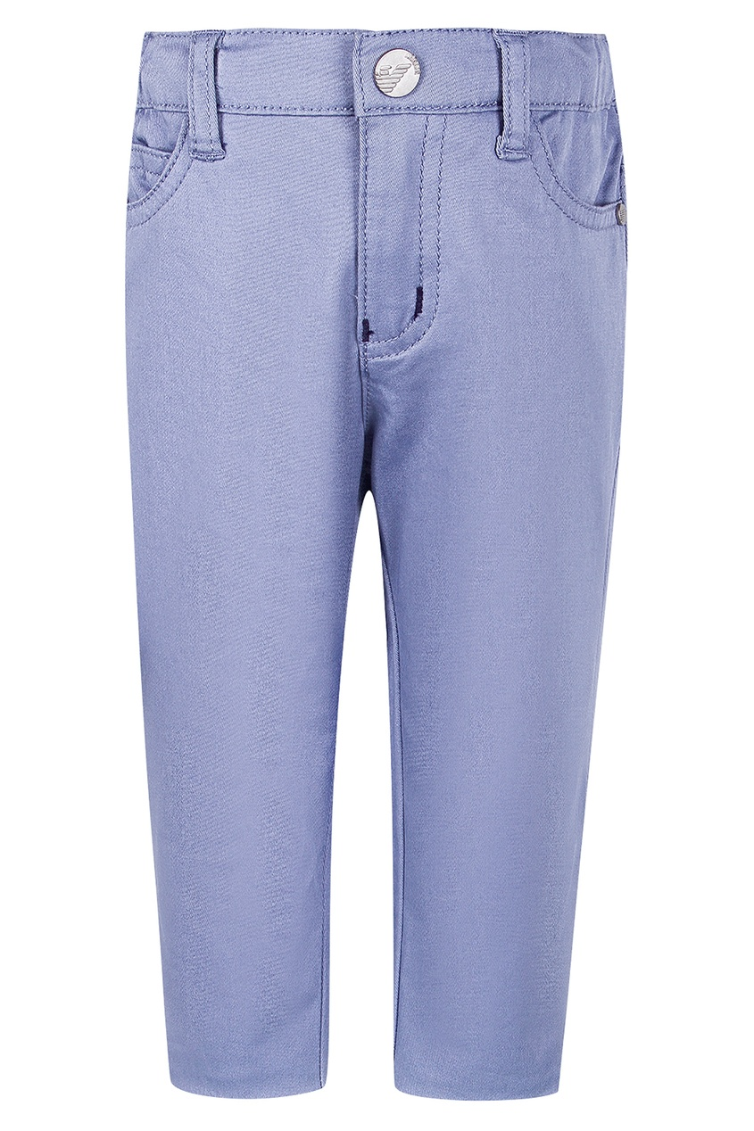 Купить Синие брюки от Emporio Armani Kids голубого цвета
