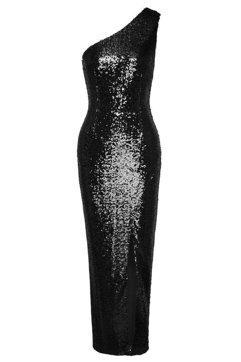 Асимметричное черное платье с пайетками Roseville