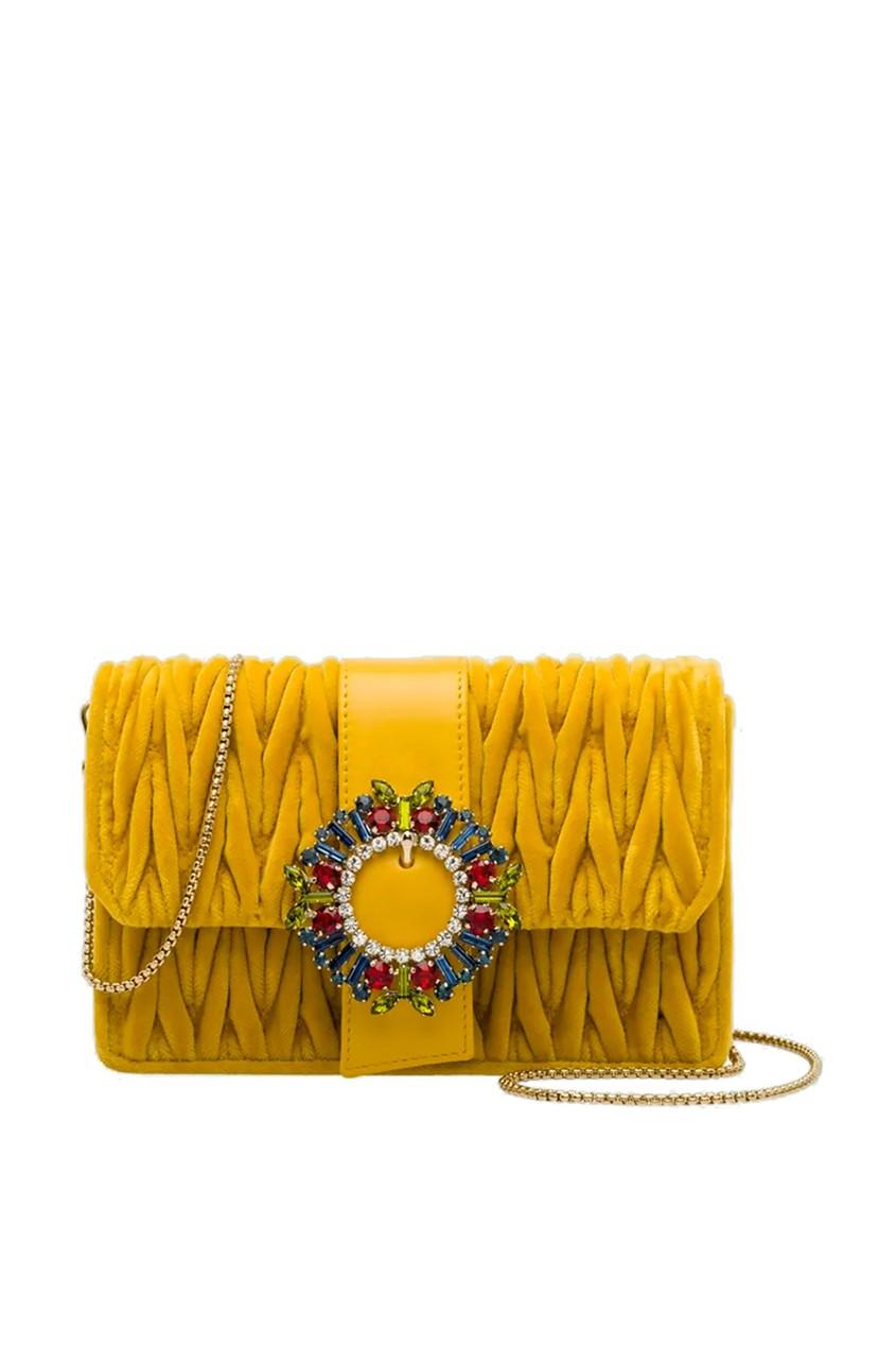 Желтая бархатная сумка с цветными кристаллами