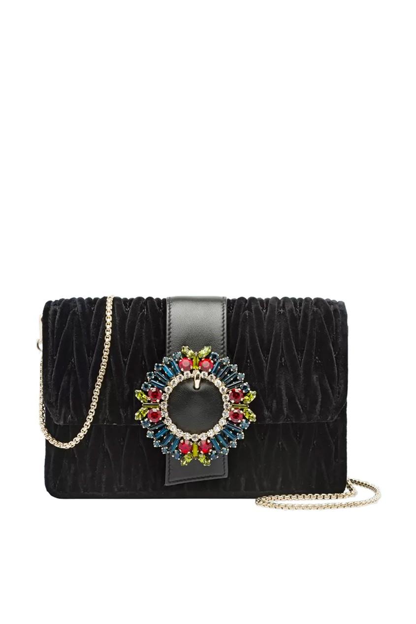 Черная бархатная сумка с цветными кристаллами