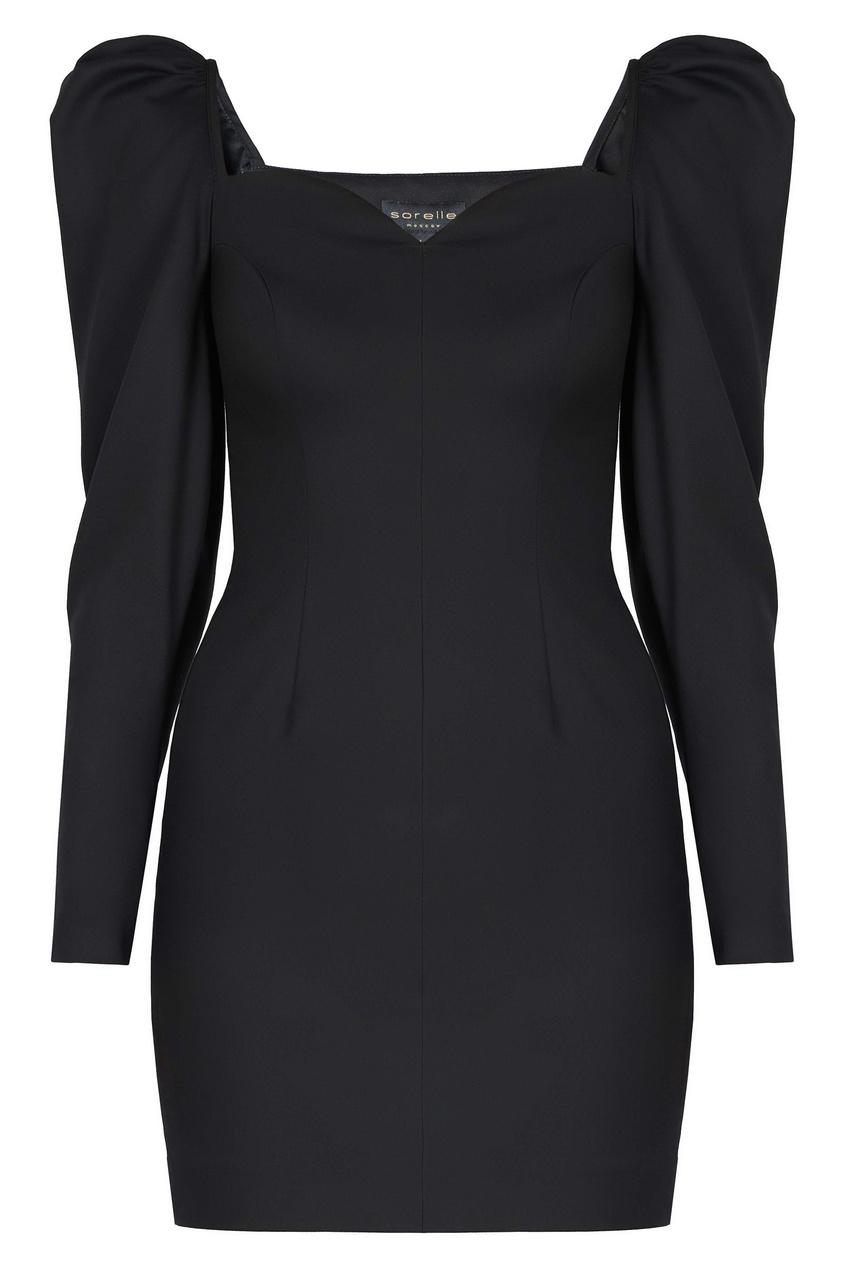 Черное платье с объемными рукавами Sorelle
