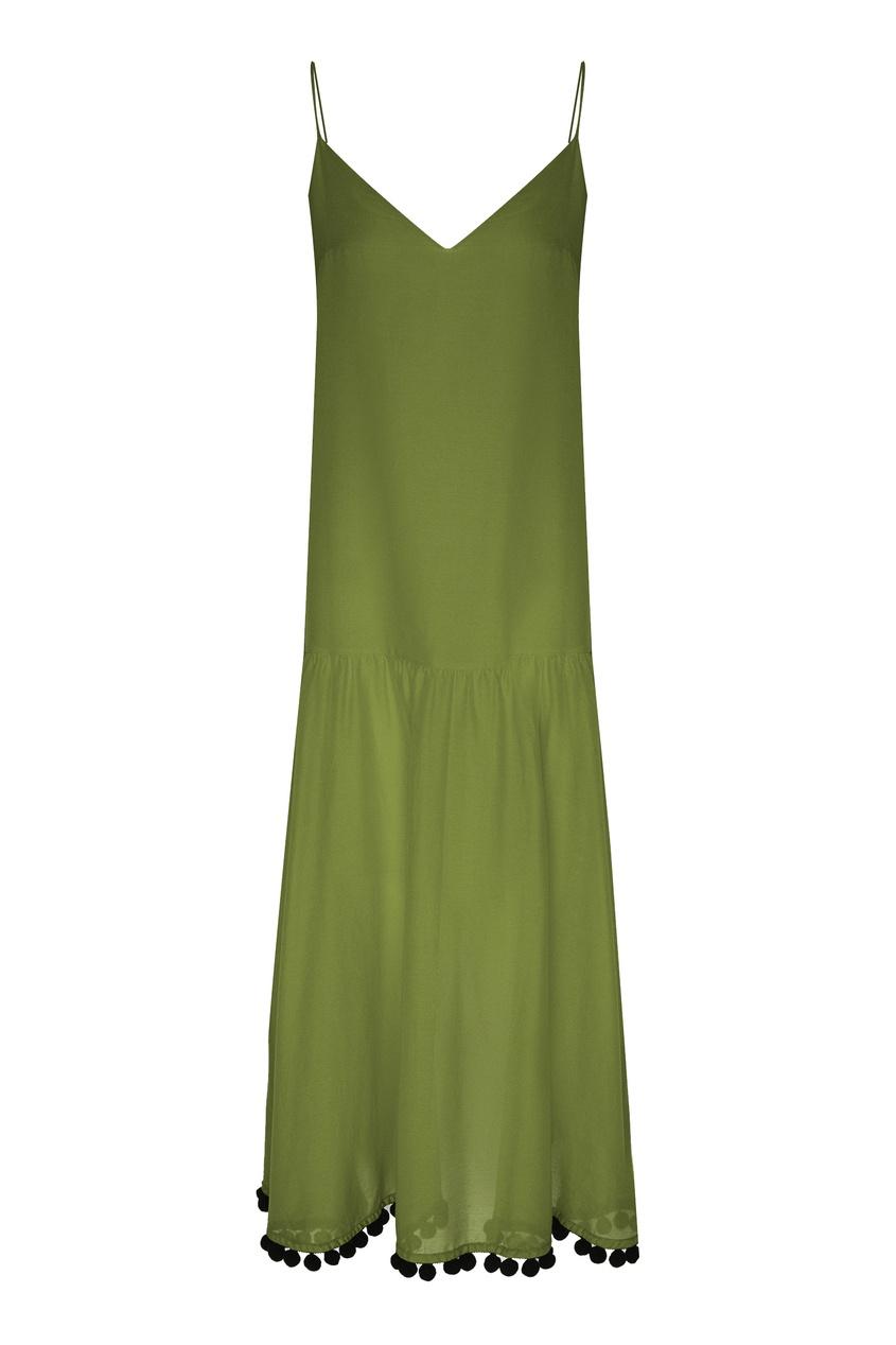 Зеленое платье на бретелях, Зеленый