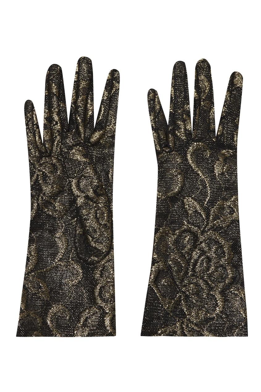 Золотисто-черные тюлевые перчатки Gucci
