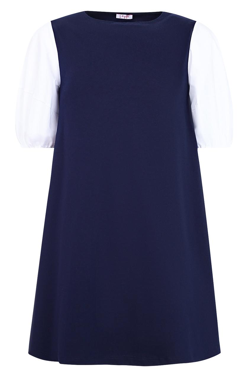 Купить Синее платье с белыми рукавами синего цвета