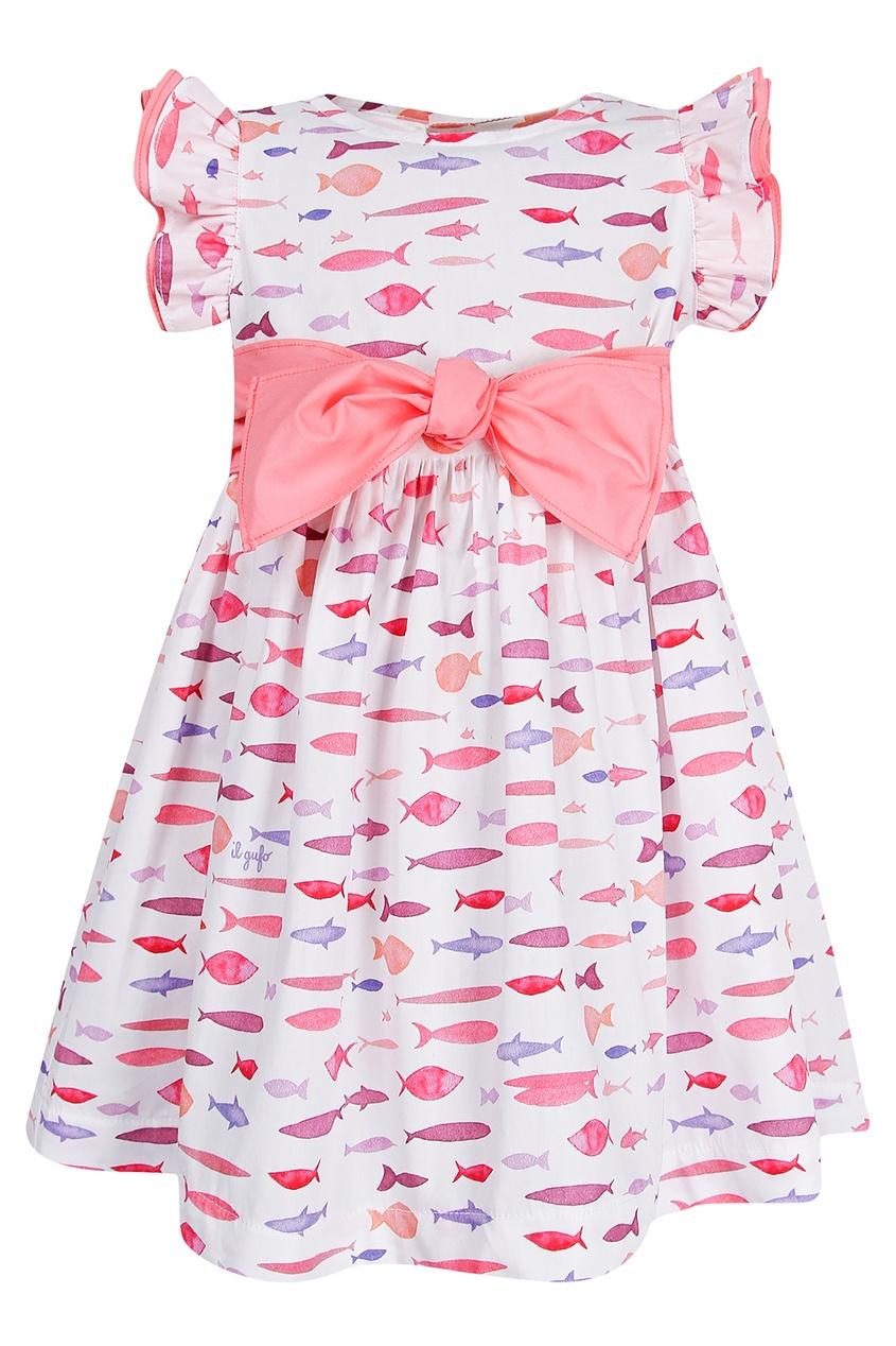 Купить Платье с розовым бантом белого цвета