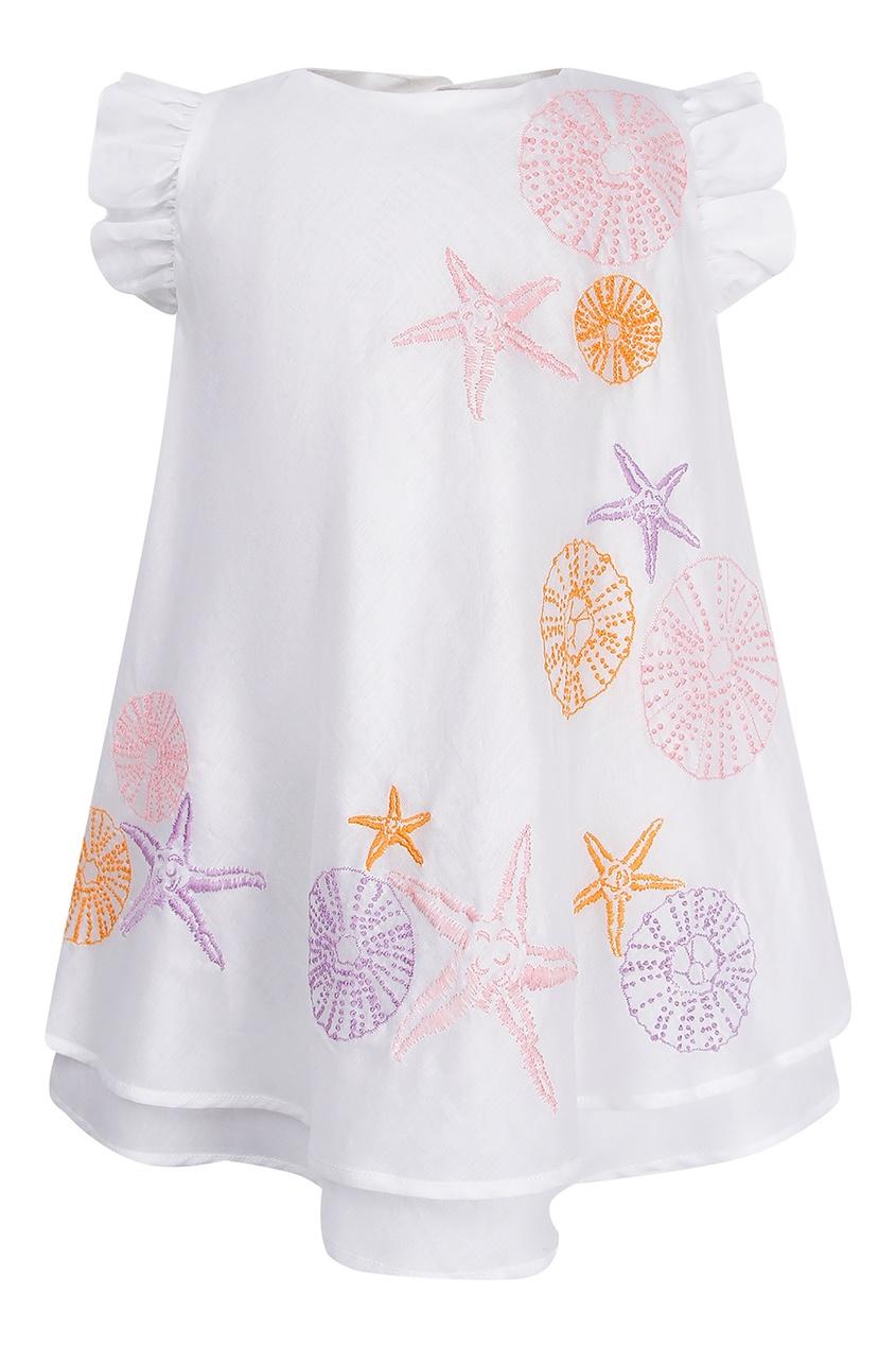Купить Платье с морским принтом белого цвета