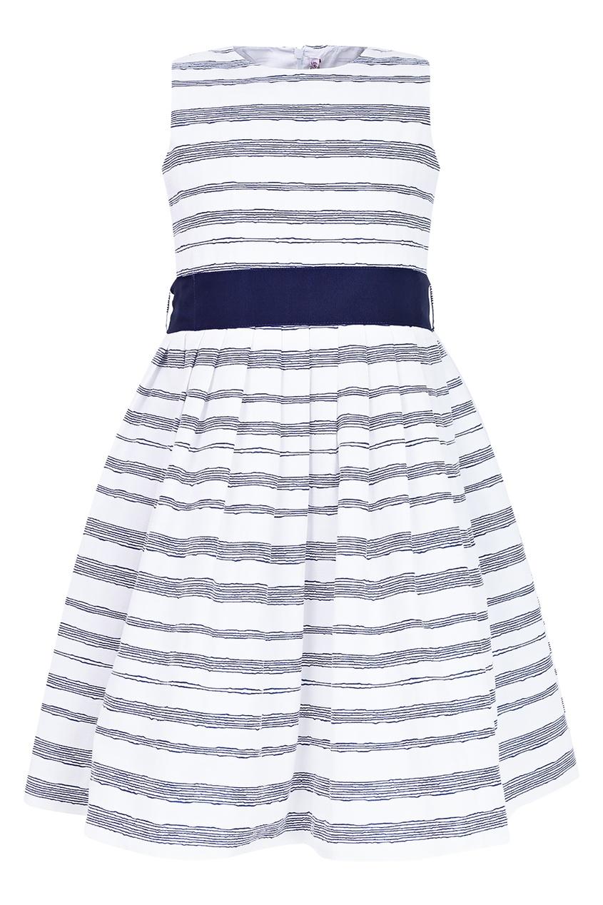 Купить Белое платье с синим поясом белого цвета