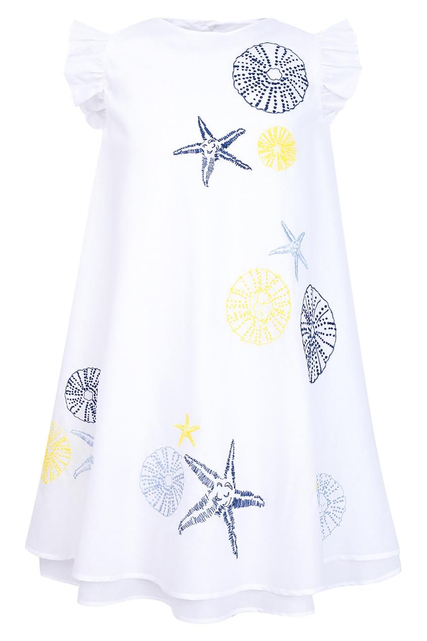 Купить Белое платье с контрастным принтом белого цвета